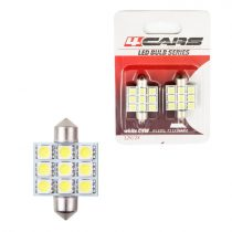 4cars Izzó 9LED 12V FESTOON 5050SMD T11x36 mm, 2 db